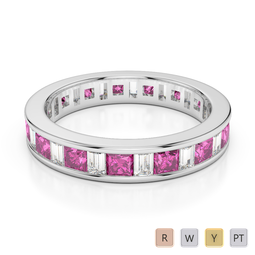 4 MM Gold / Platinum Princess and Baguette Cut Pink Sapphire and Diamond Full Eternity Ring AGDR-1141