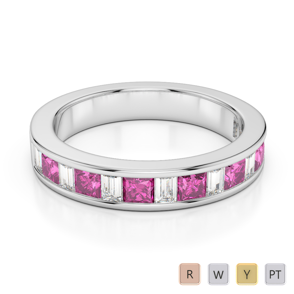 4 MM Gold / Platinum Princess and Baguette Cut Pink Sapphire and Diamond Half Eternity Ring AGDR-1143