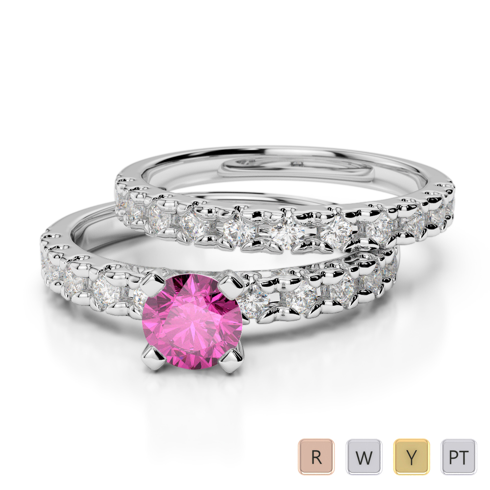 Gold / Platinum Round cut Pink Sapphire and Diamond Bridal Set Ring AGDR-1144