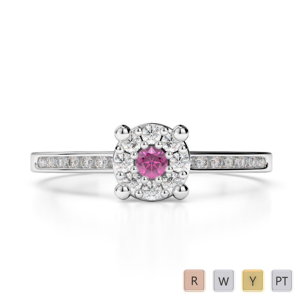 Gold / Platinum Round Cut Pink Sapphire and Diamond Engagement Ring AGDR-1163