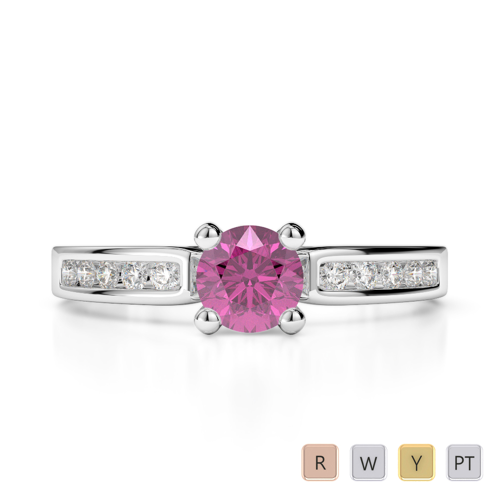 Gold / Platinum Round Cut Pink Sapphire and Diamond Engagement Ring AGDR-1184