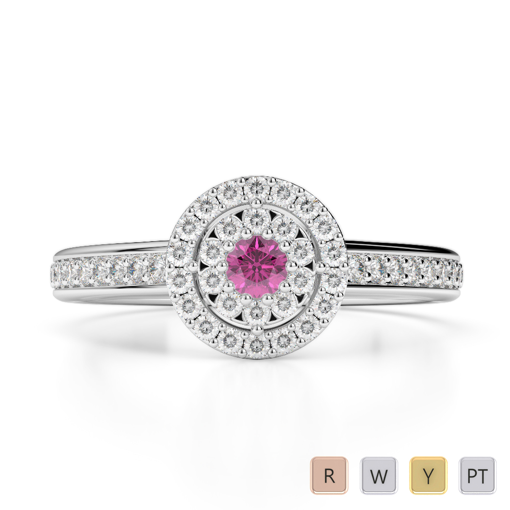 Gold / Platinum Round Cut Pink Sapphire and Diamond Engagement Ring AGDR-1188