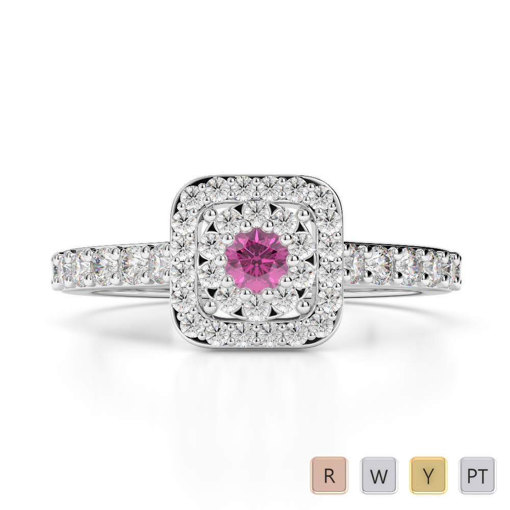 Gold / Platinum Round Cut Pink Sapphire and Diamond Engagement Ring AGDR-1189