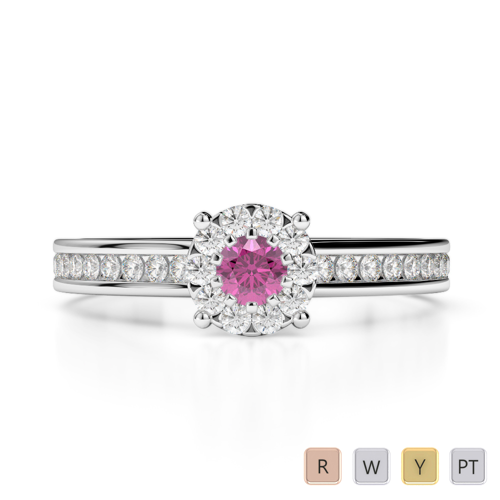 Gold / Platinum Round Cut Pink Sapphire and Diamond Engagement Ring AGDR-1190