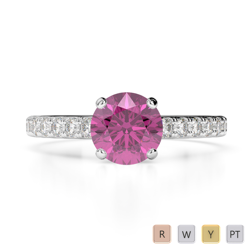 Gold / Platinum Round Cut Pink Sapphire and Diamond Engagement Ring AGDR-1201