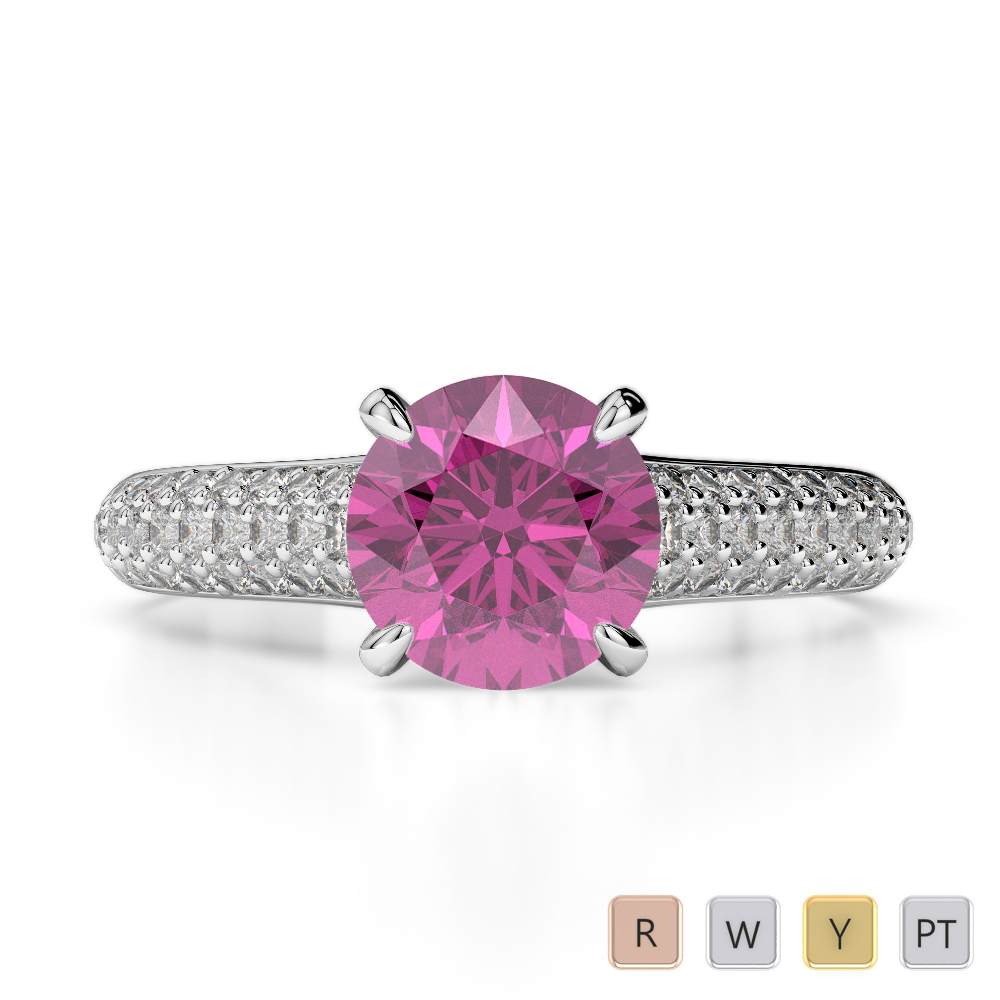 Gold / Platinum Round Cut Pink Sapphire and Diamond Engagement Ring AGDR-1203