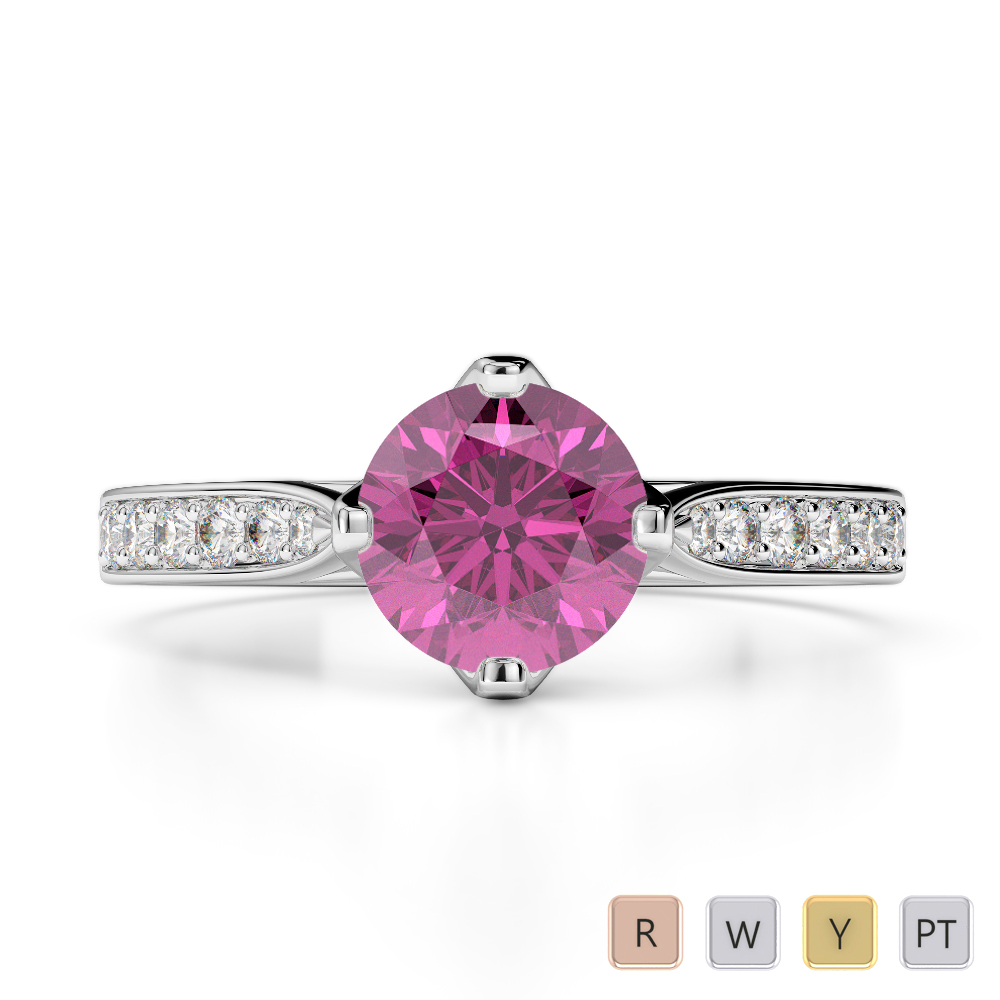 Gold / Platinum Round Cut Pink Sapphire and Diamond Engagement Ring AGDR-1204