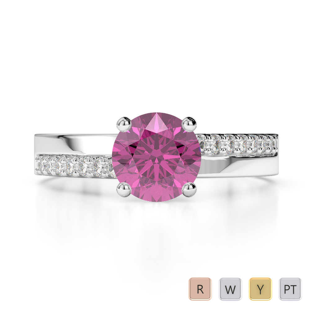 Gold / Platinum Round Cut Pink Sapphire and Diamond Engagement Ring AGDR-1206