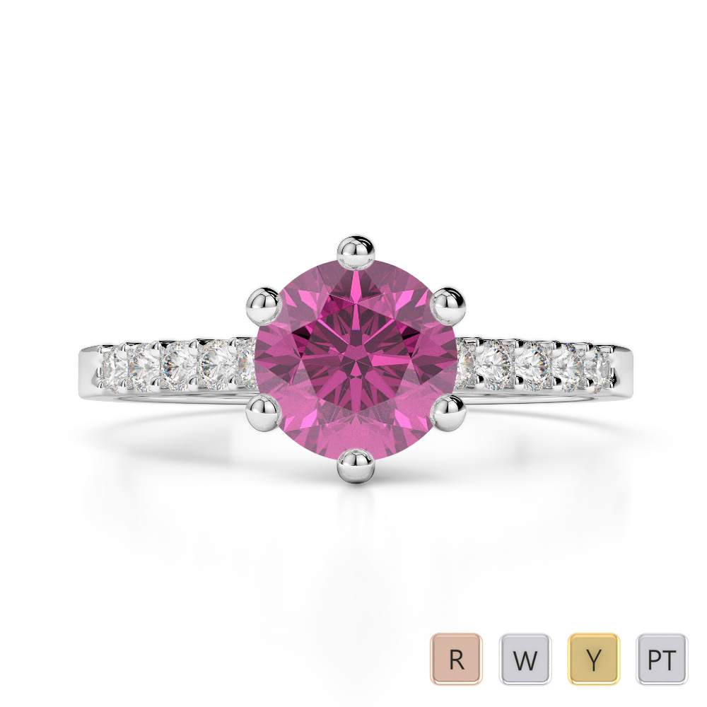 Gold / Platinum Round Cut Pink Sapphire and Diamond Engagement Ring AGDR-1208
