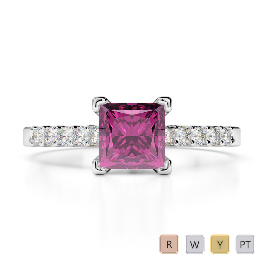 Gold / Platinum Round and Princess Cut Pink Sapphire and Diamond Engagement Ring AGDR-1210