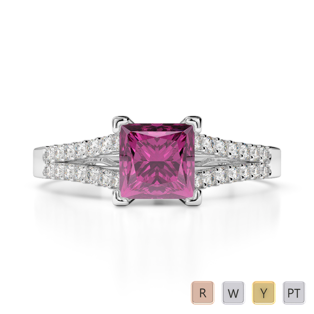 Gold / Platinum Round and Princess Cut Pink Sapphire and Diamond Engagement Ring AGDR-1211