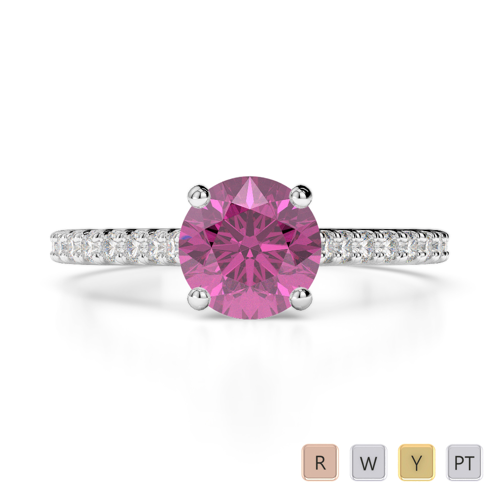 Gold / Platinum Round Cut Pink Sapphire and Diamond Engagement Ring AGDR-1213