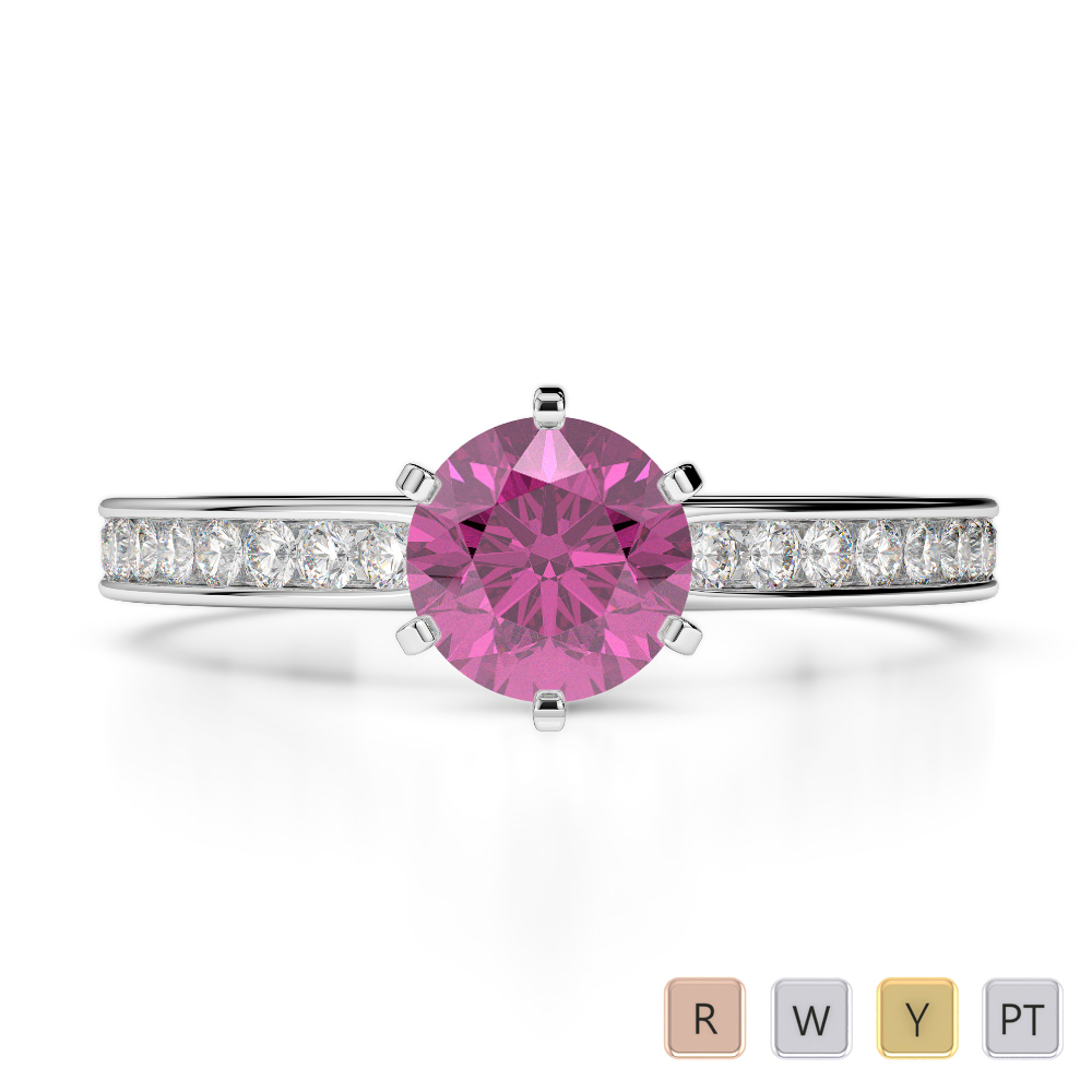 Gold / Platinum Round Cut Pink Sapphire and Diamond Engagement Ring AGDR-1214