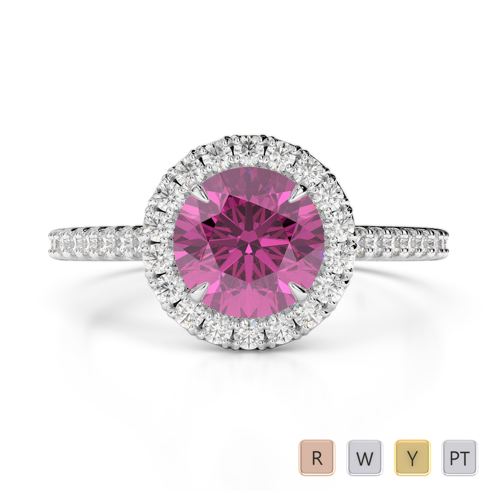 Gold / Platinum Round Cut Pink Sapphire and Diamond Engagement Ring AGDR-1215