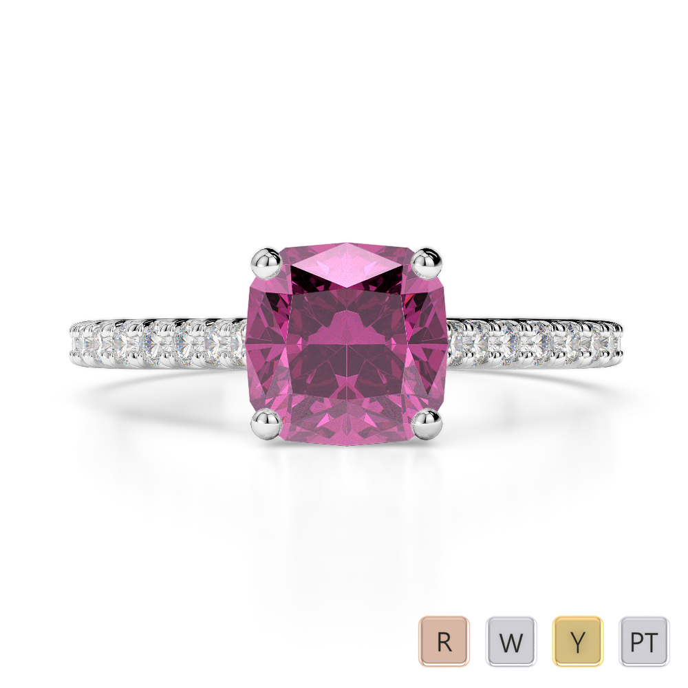 Gold / Platinum Round and Cushion Cut Pink Sapphire and Diamond Engagement Ring AGDR-1216