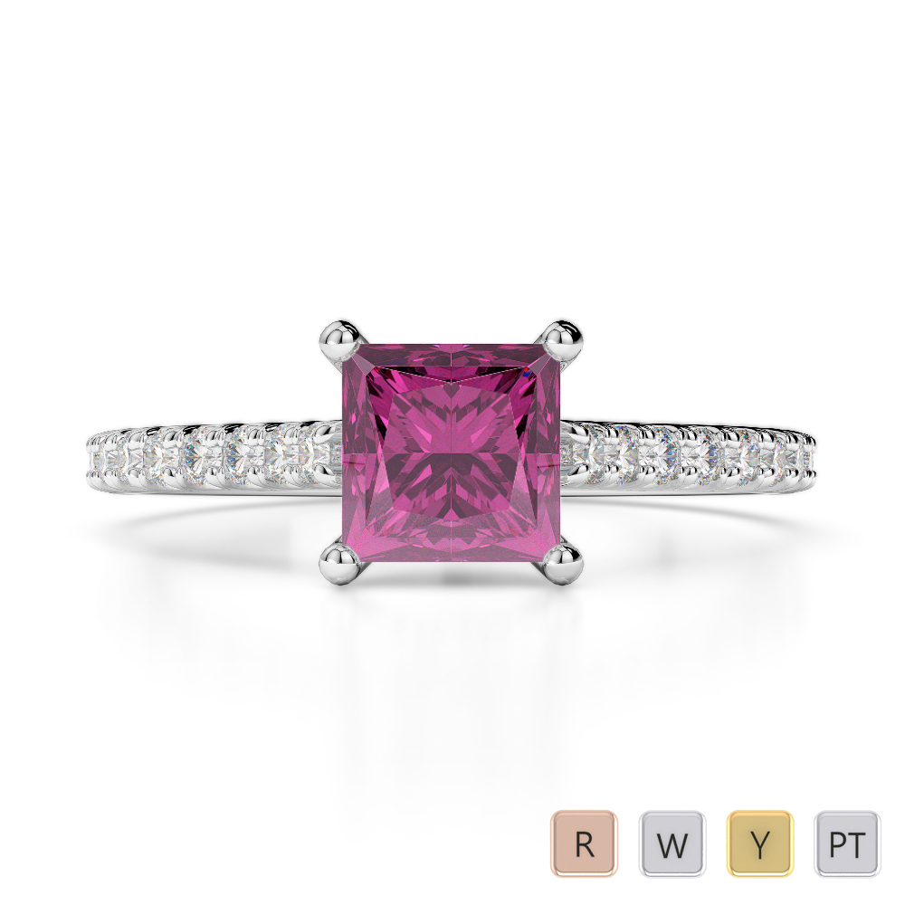 Gold / Platinum Round and Princess Cut Pink Sapphire and Diamond Engagement Ring AGDR-1217