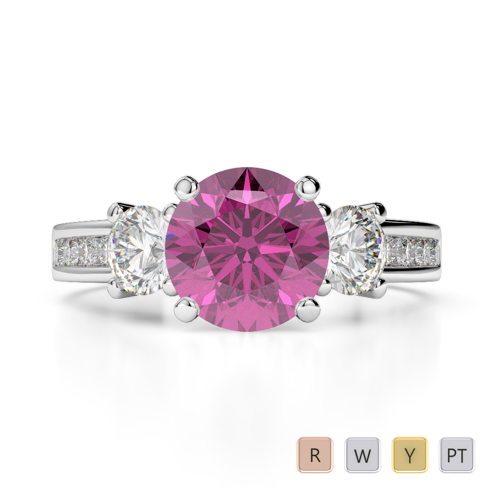 Gold / Platinum Round Cut Pink Sapphire and Diamond Engagement Ring AGDR-1218