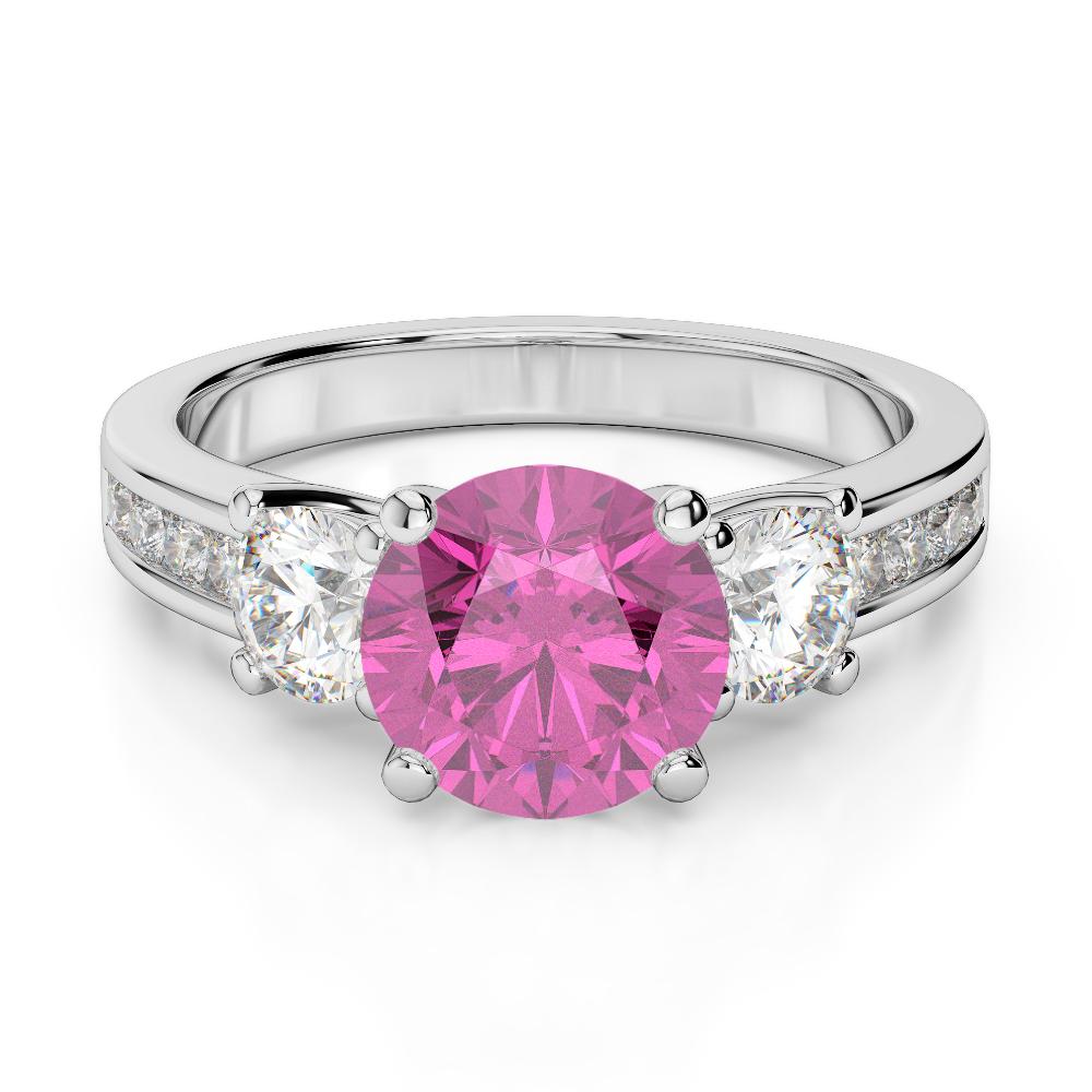 Gold / platinum round cut pink sapphire and diamond engagement ring ...