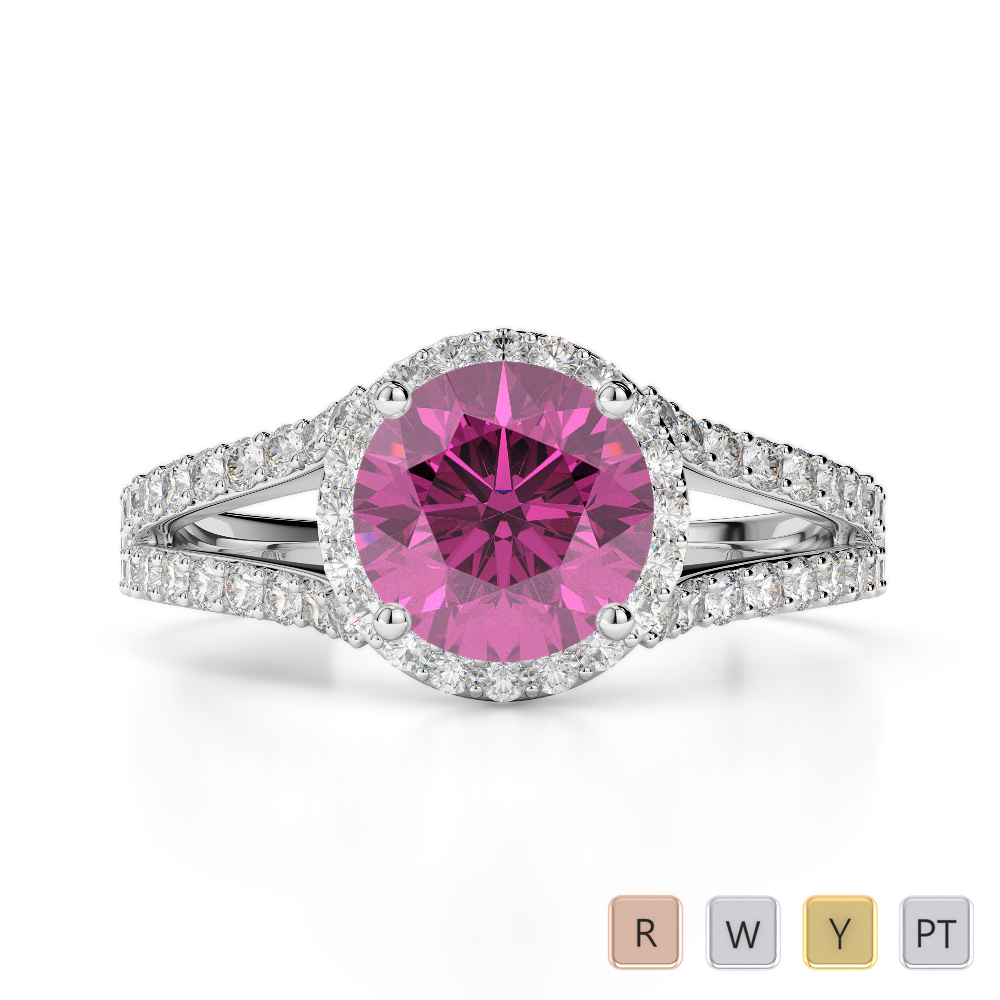 Gold / Platinum Round Cut Pink Sapphire and Diamond Engagement Ring AGDR-1220