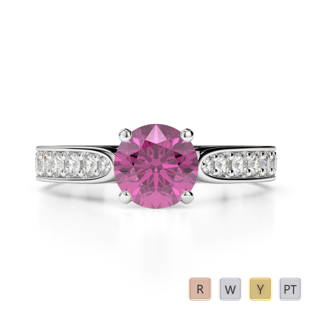 Gold / Platinum Round Cut Pink Sapphire and Diamond Engagement Ring AGDR-1221