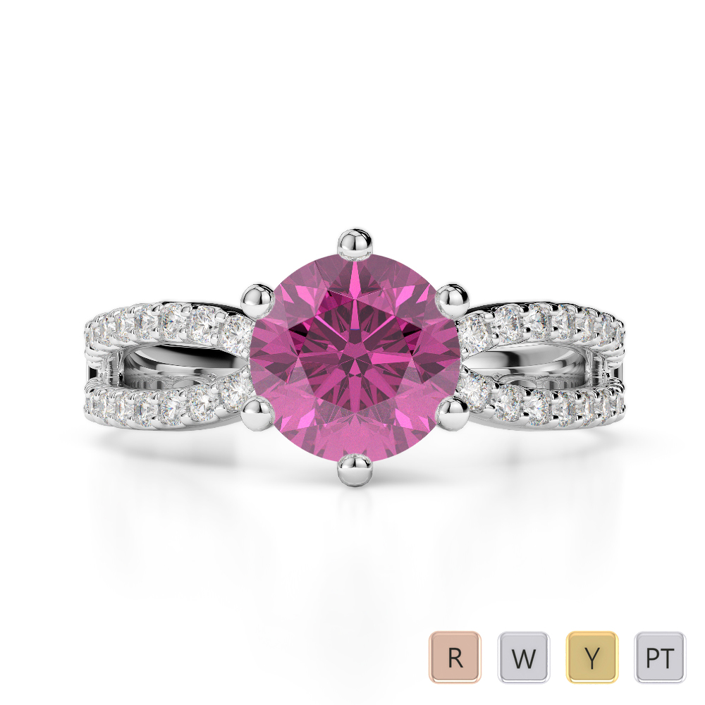 Gold / Platinum Round Cut Pink Sapphire and Diamond Engagement Ring AGDR-1223