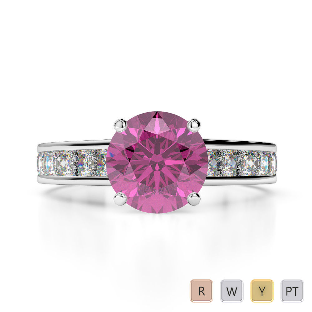 Gold / Platinum Round and Princess Cut Pink Sapphire and Diamond Engagement Ring AGDR-1224