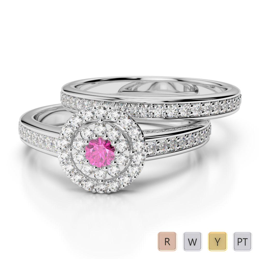 Gold / Platinum Round cut Pink Sapphire and Diamond Bridal Set Ring AGDR-1239