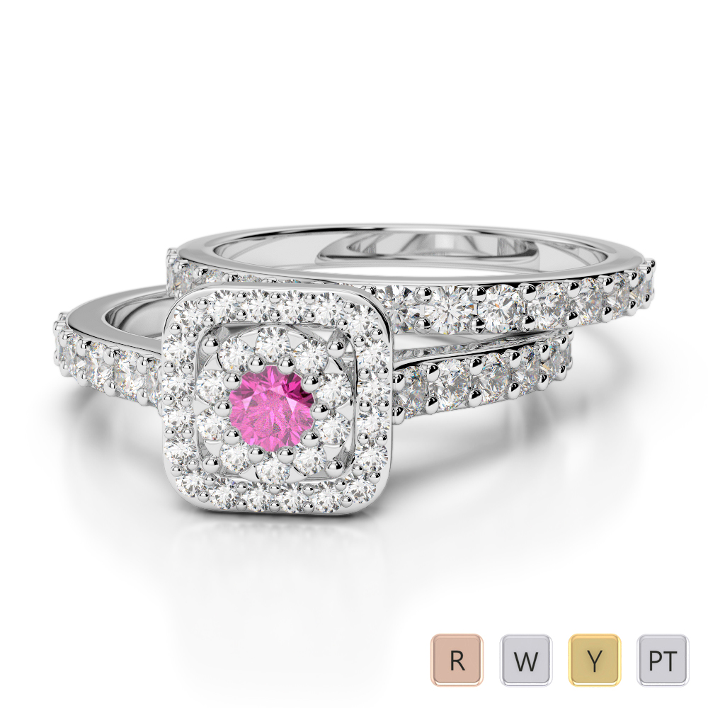 Gold / Platinum Round cut Pink Sapphire and Diamond Bridal Set Ring AGDR-1246