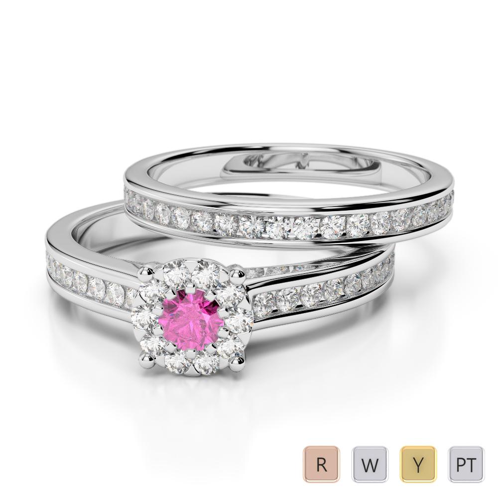 Gold / Platinum Round cut Pink Sapphire and Diamond Bridal Set Ring AGDR-1339