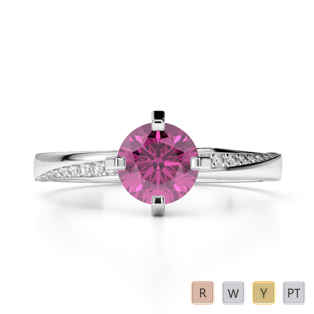 Gold / Platinum Round Cut Pink Sapphire and Diamond Engagement Ring AGDR-2002