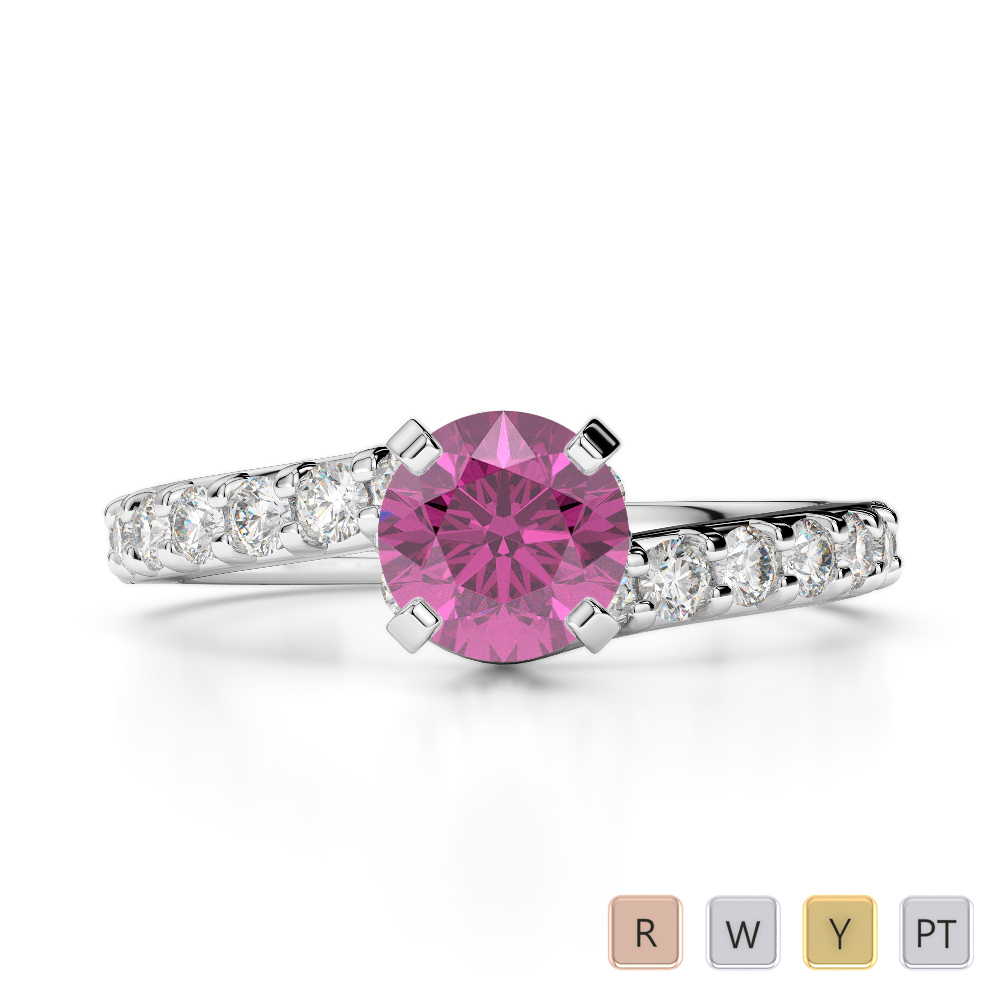 Gold / Platinum Round Cut Pink Sapphire and Diamond Engagement Ring AGDR-2004