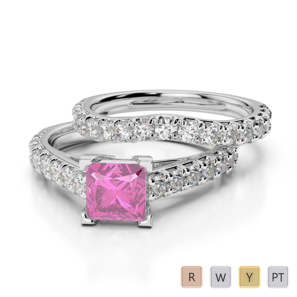 Gold / Platinum Round and Princess cut Pink Sapphire and Diamond Bridal Set Ring AGDR-2007