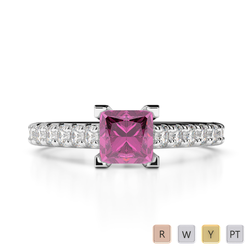 Gold / Platinum Round and Princess Cut Pink Sapphire and Diamond Engagement Ring AGDR-2008