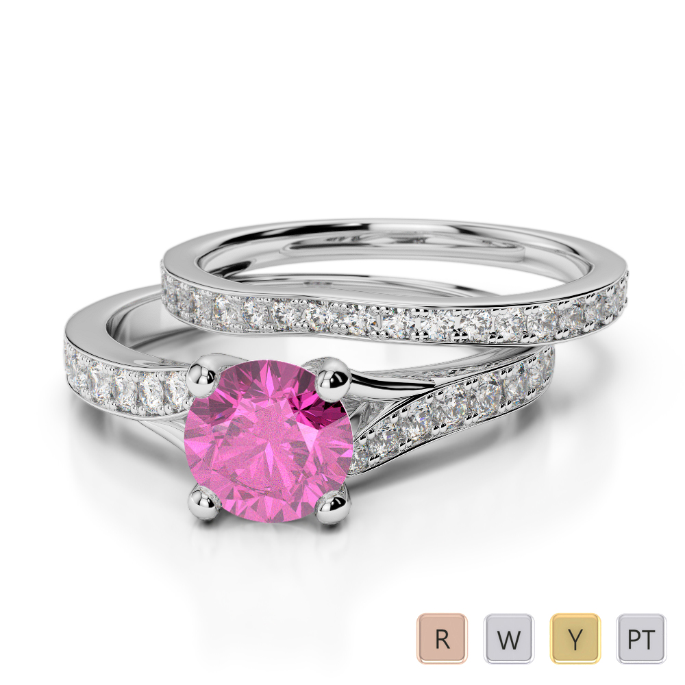 Gold / Platinum Round cut Pink Sapphire and Diamond Bridal Set Ring AGDR-2011