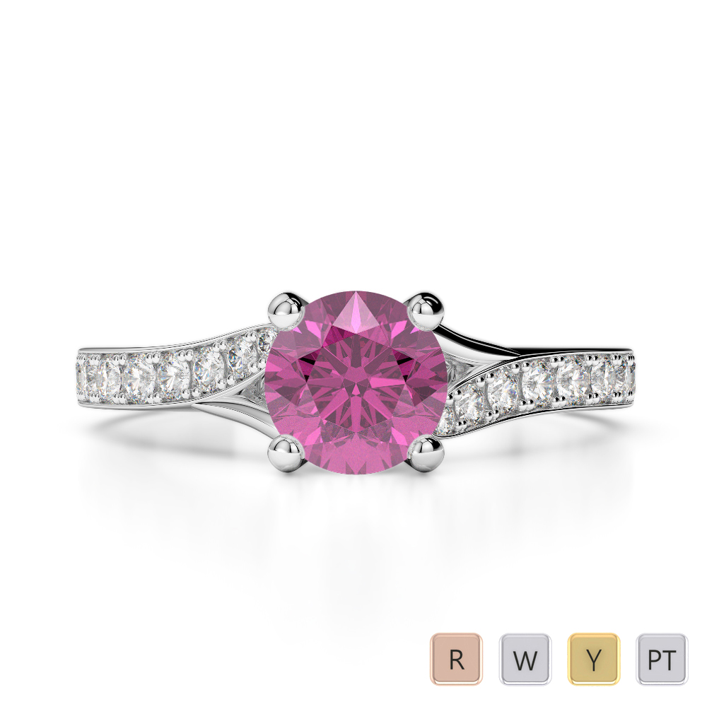 Gold / Platinum Round Cut Pink Sapphire and Diamond Engagement Ring AGDR-2012