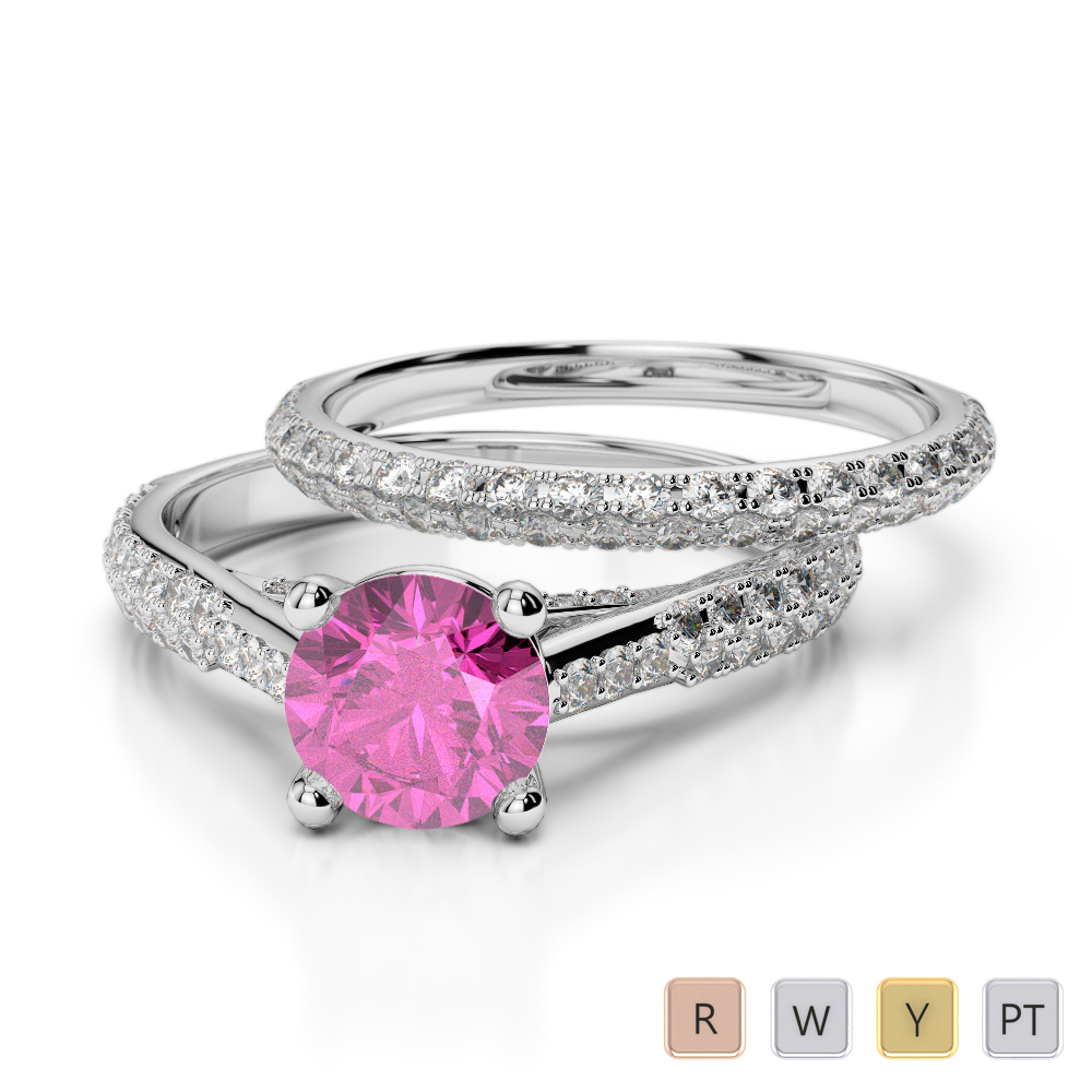 Gold / Platinum Round cut Pink Sapphire and Diamond Bridal Set Ring AGDR-2013