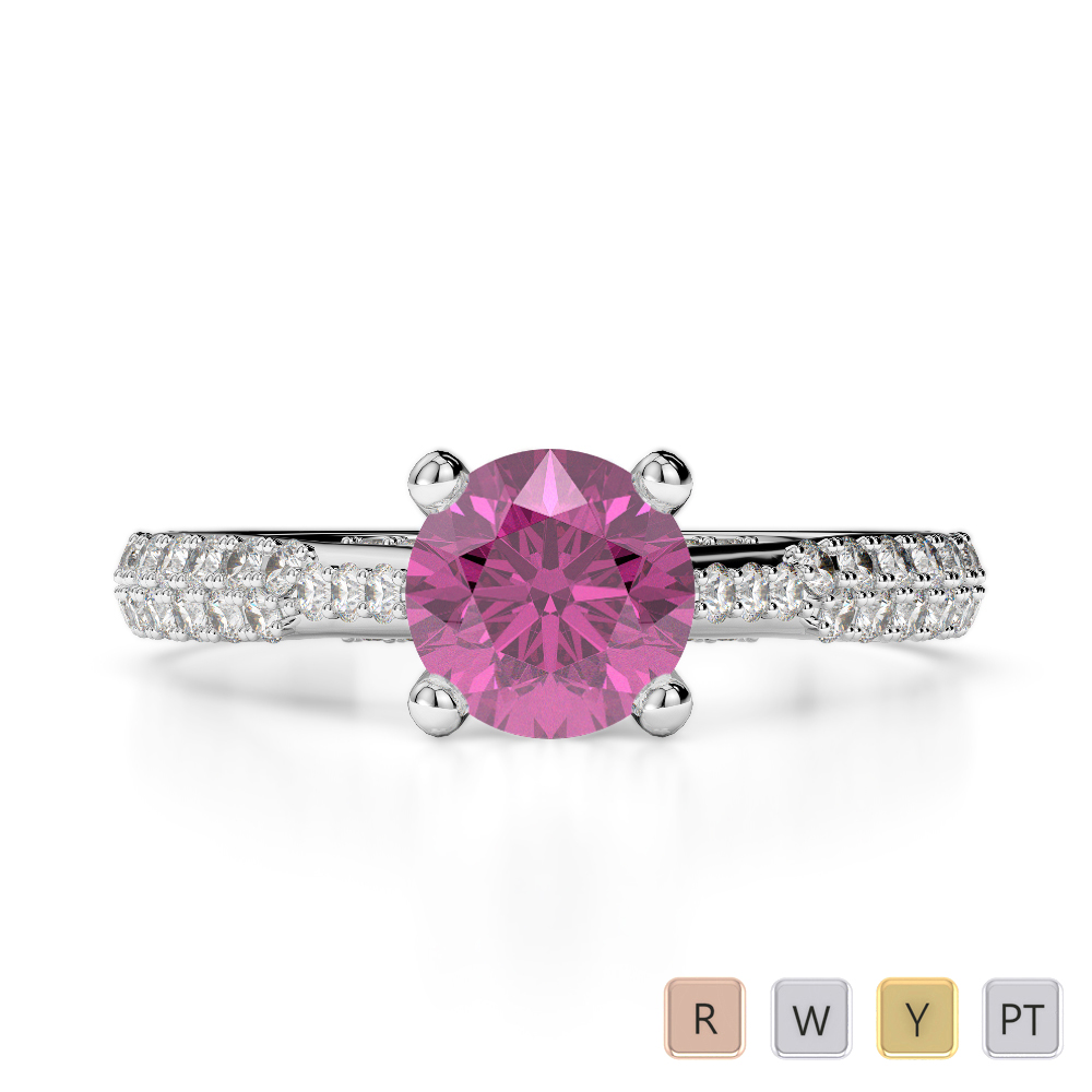 Gold / Platinum Round Cut Pink Sapphire and Diamond Engagement Ring AGDR-2014