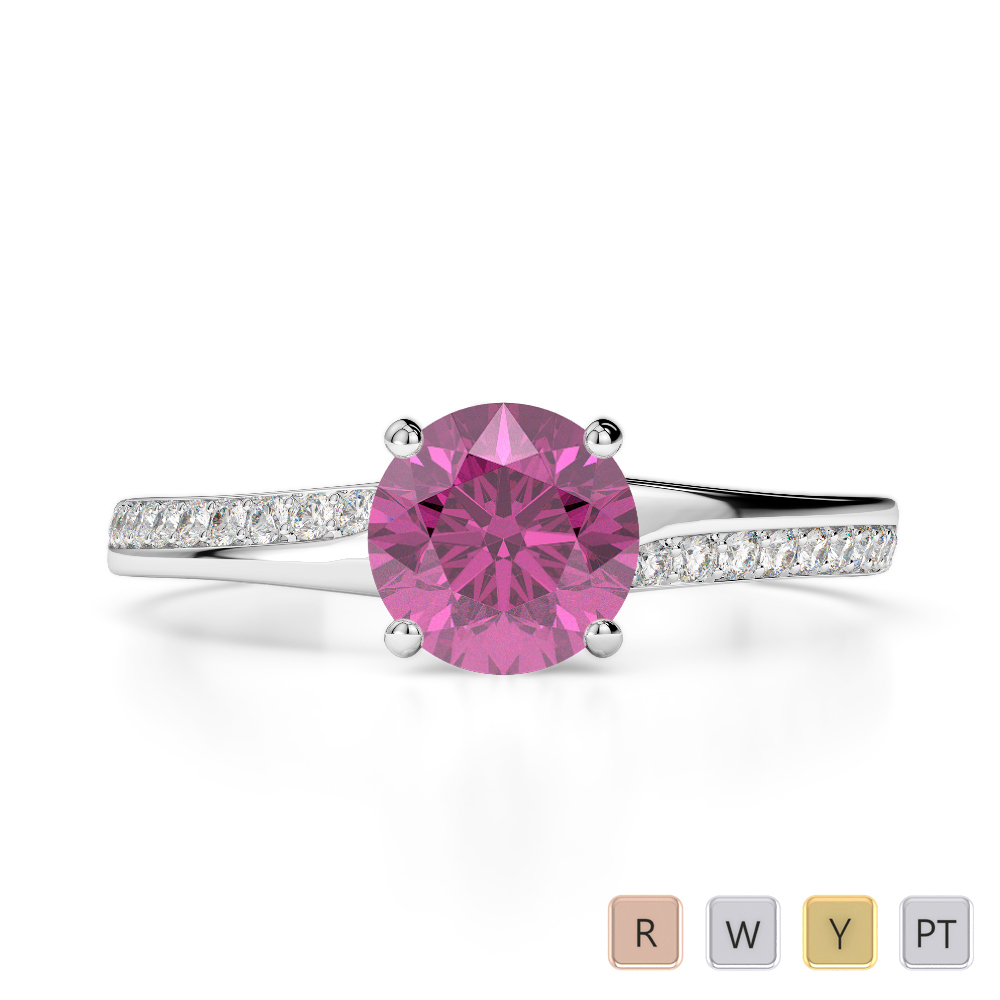 Gold / Platinum Round Cut Pink Sapphire and Diamond Engagement Ring AGDR-2016
