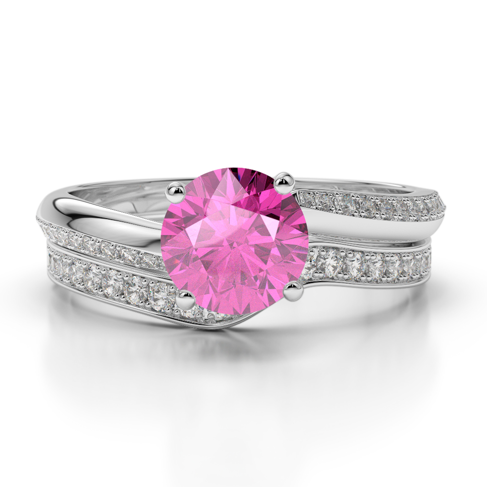 Gold / platinum round cut pink sapphire and diamond bridal set ring ...