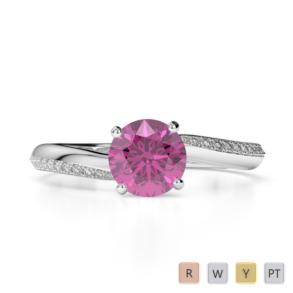 Gold / Platinum Round Cut Pink Sapphire and Diamond Engagement Ring AGDR-2018