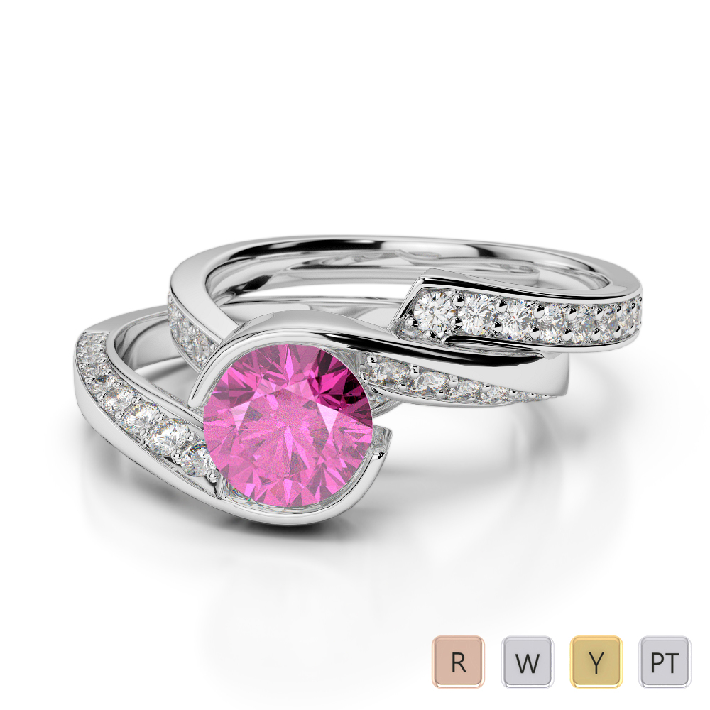 Gold / Platinum Round cut Pink Sapphire and Diamond Bridal Set Ring AGDR-2019