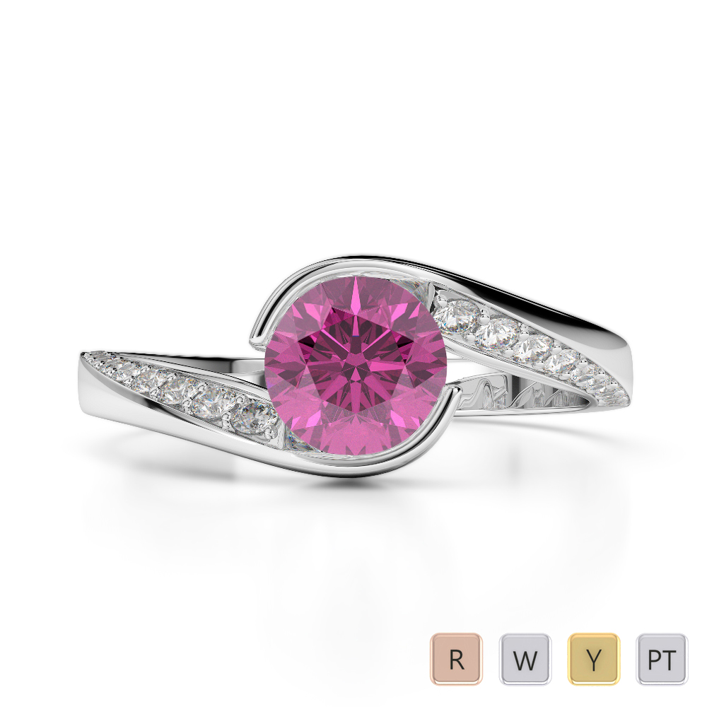 Gold / Platinum Round Cut Pink Sapphire and Diamond Engagement Ring AGDR-2020