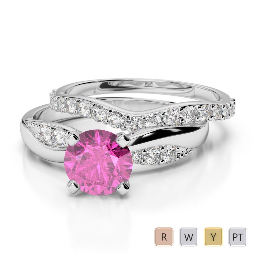 Gold / Platinum Round cut Pink Sapphire and Diamond Bridal Set Ring AGDR-2023