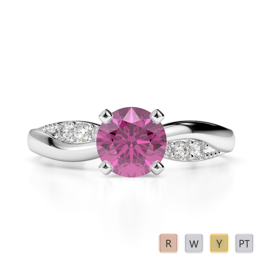 Gold / Platinum Round Cut Pink Sapphire and Diamond Engagement Ring AGDR-2024