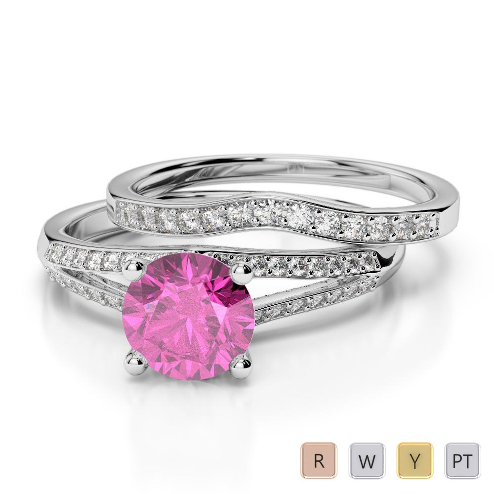 Gold / Platinum Round cut Pink Sapphire and Diamond Bridal Set Ring AGDR-2037