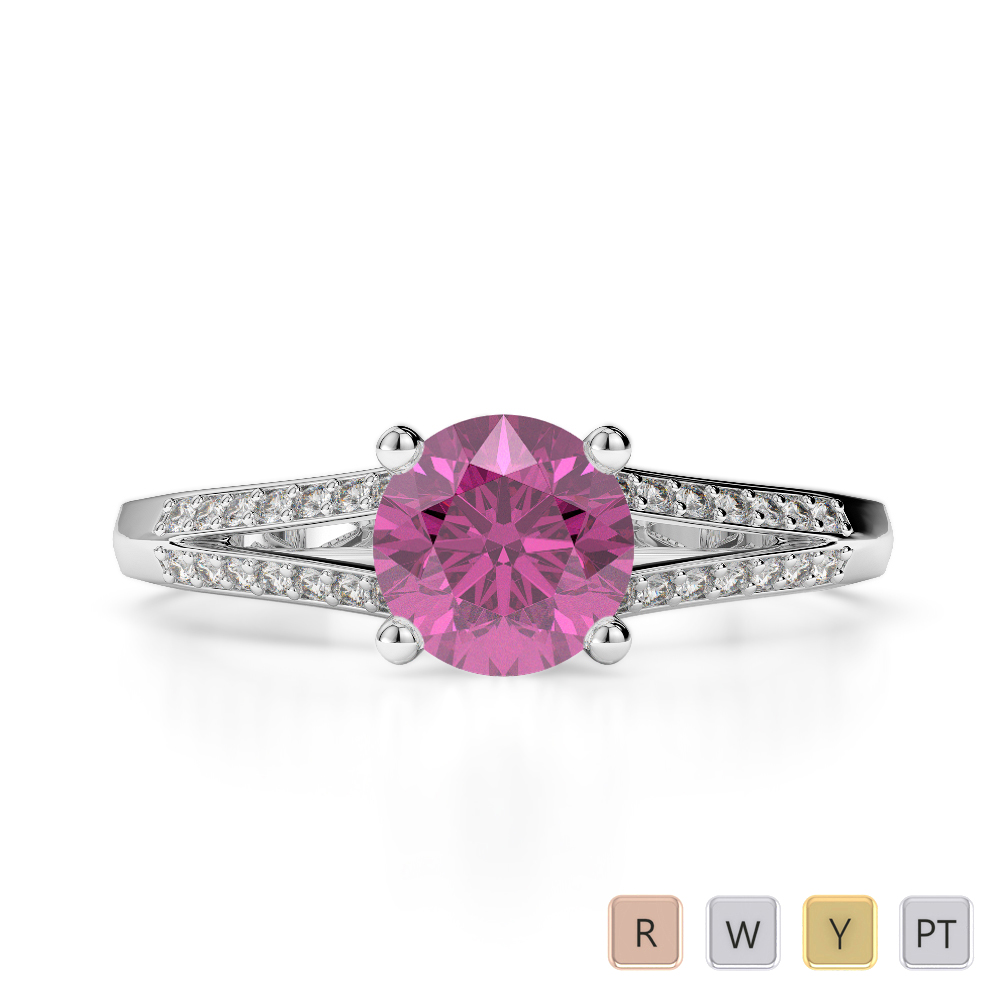 Gold / Platinum Round Cut Pink Sapphire and Diamond Engagement Ring AGDR-2038