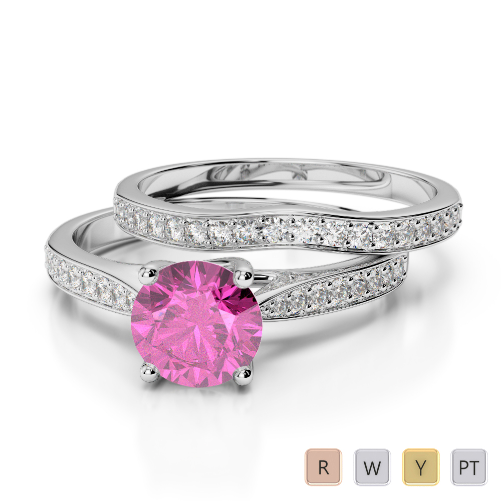 Gold / Platinum Round cut Pink Sapphire and Diamond Bridal Set Ring AGDR-2053