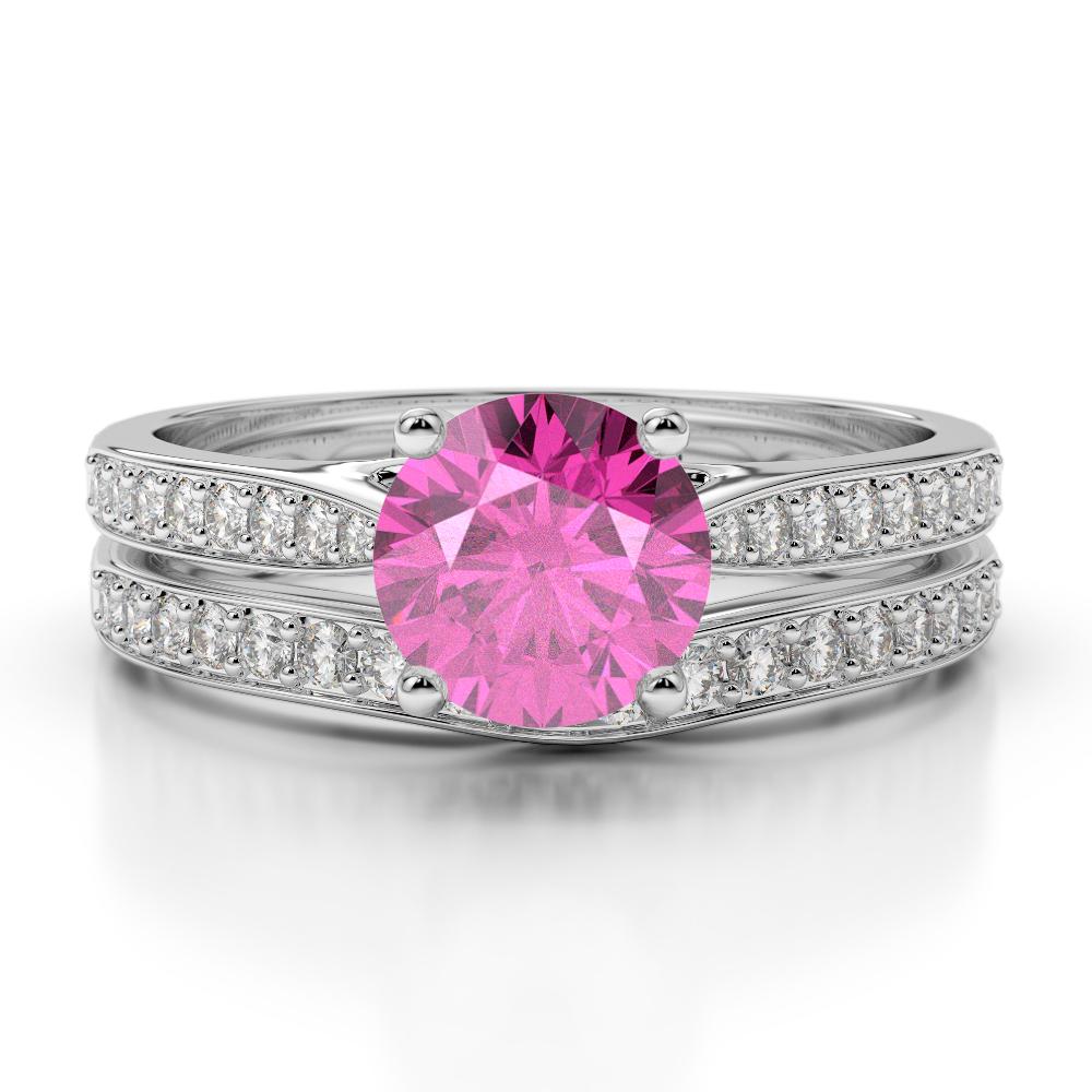 Gold / platinum round cut pink sapphire and diamond bridal set ring ...