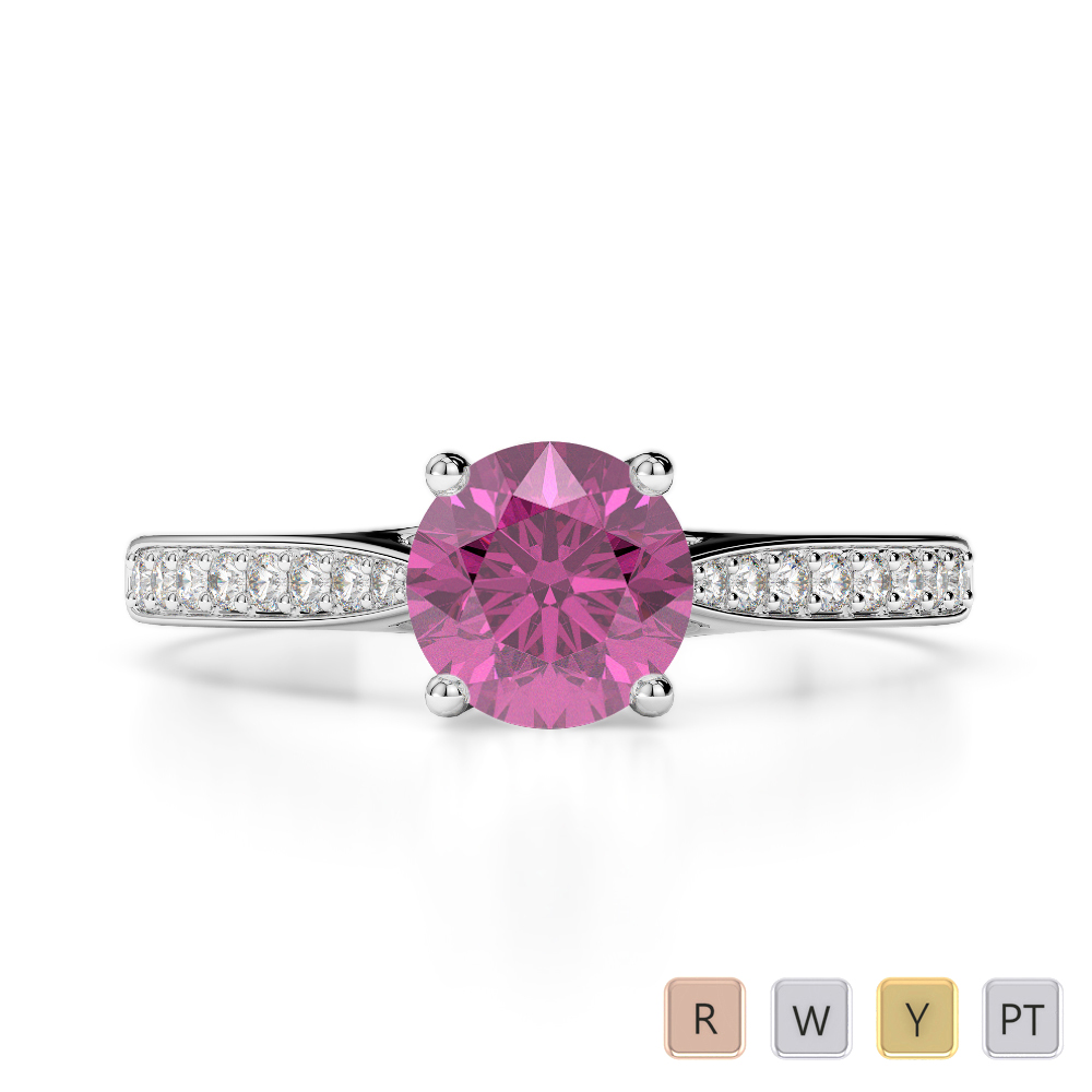 Gold / Platinum Round Cut Pink Sapphire and Diamond Engagement Ring AGDR-2054