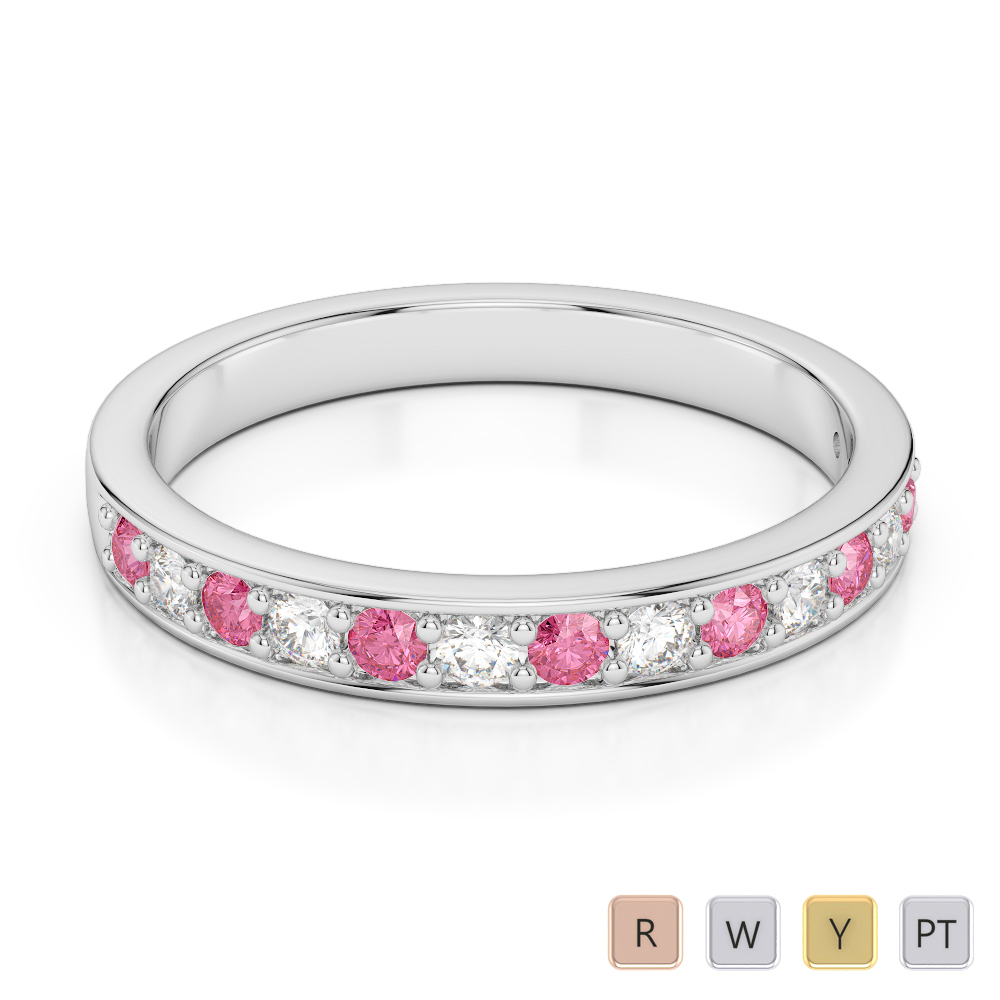 2.5 MM Gold / Platinum Round Cut Pink Tourmaline and Diamond Half Eternity Ring AGDR-1083